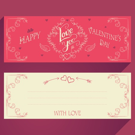 handlettering: Happy Valentines day hand-lettering greeting card face and back