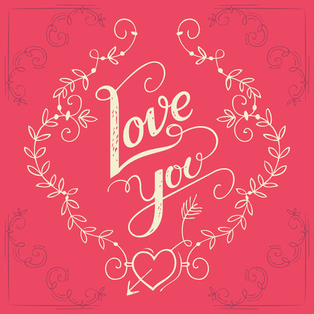 Love you hand-lettering typography greeting card with floral ornaments