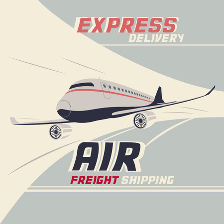 Air freight international shipping. Flying airplane vintage illustration