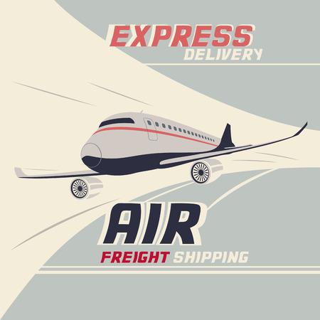 air freight: Trasporto aereo trasporto marittimo internazionale. Flying airplane vintage illustrazione