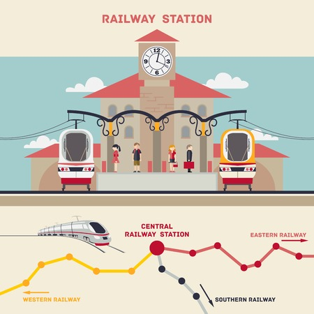 high speed railway: Railway station illustration in a flat style with a railway map