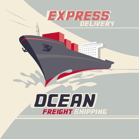 Il trasporto merci Oceano e il trasporto internazionale di merci, illustrazione d'epoca Archivio Fotografico - 36564557