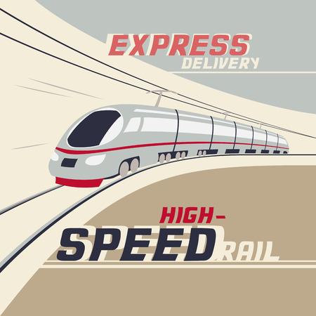 tren: Entrega urgente por ferrocarril de alta velocidad. Ejemplo del vintage del tren de alta velocidad