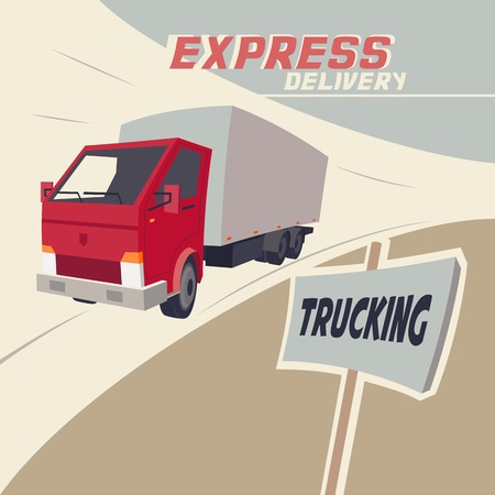 fast service: Trucking express delivery. Vintage illustration of a racing truck