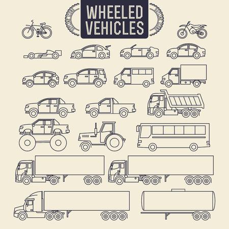 contorno: Veh�culos de ruedas. Iconos contorno Juego de Transporte