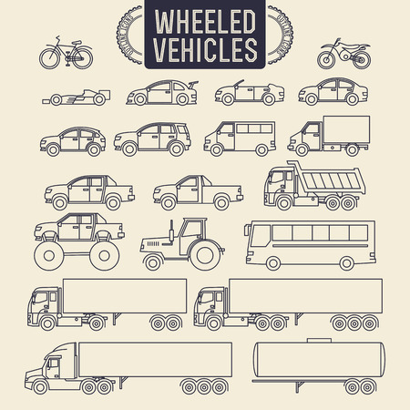 wheeled tractor: Wheeled vehicles. Transport outline icons set Illustration