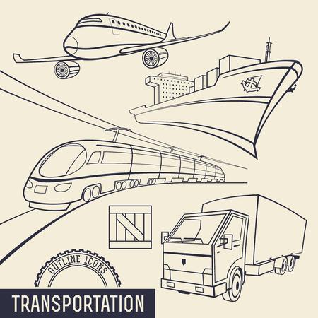 Iconos contorno Juego de Transporte. Aire, mar, ferrocarril y transporte terrestre Ilustración de vector