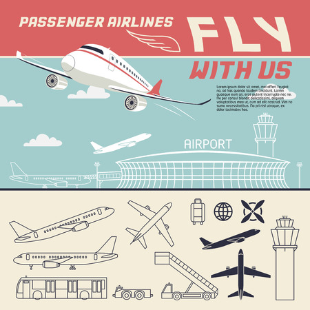 airport business: Fly with us. Airport and airplane illustration with outline icons set