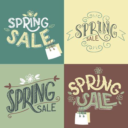 handlettering: Spring sale hand-lettering labels set with shopping bag Illustration