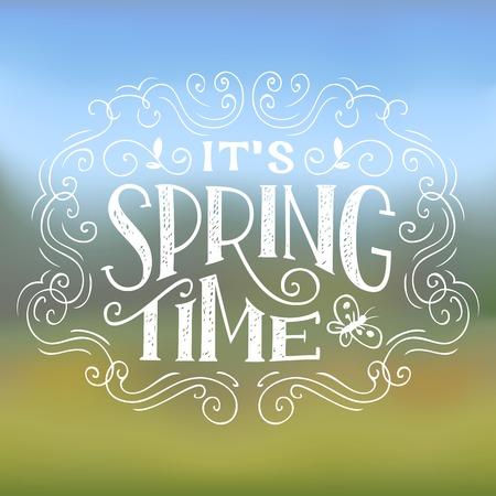 � spring: Tiempo de primavera. Mano letras dise�o tipogr�fico en el fondo la naturaleza Vectores