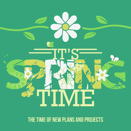 cover background time: Spring Time. Typographic design poster with a grunge font
