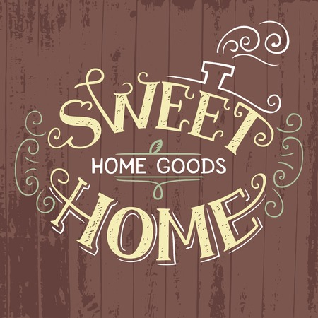 homely: Sweet Home hand lettering. Home goods hand-drawn label