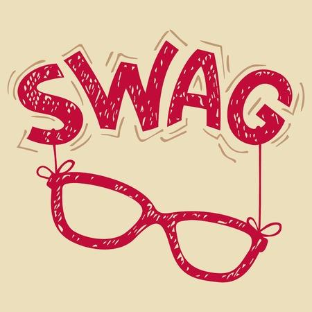 swag: -Mano letras gafas Swag de la tipograf�a para la camiseta Vectores