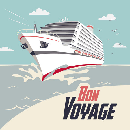passenger ship: Cruise ship illustration with Bon Voyage headline