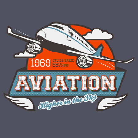 air travel: Aviation t-shirt illustration label with airplane