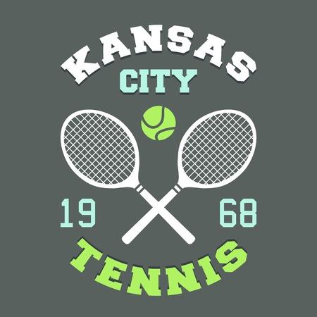 Kansas City tennis championship, t-shirt sport typography label