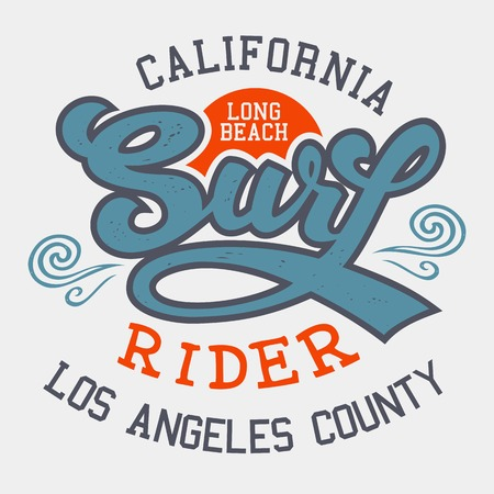 surfing: Surf rider Long Beach California, t-shirt typographic design
