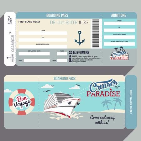 schepen: Cruises naar het Paradijs. Cruiseschip boarding pass flat grafisch ontwerp sjabloon. Gezicht en achterzijde