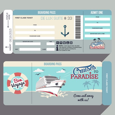 ships at sea: Cruises to Paradise. Cruise ship boarding pass flat graphic design template. Face and back side