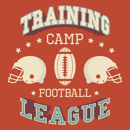 t shirt print: Training camp american football league, t-shirt typographic design Illustration