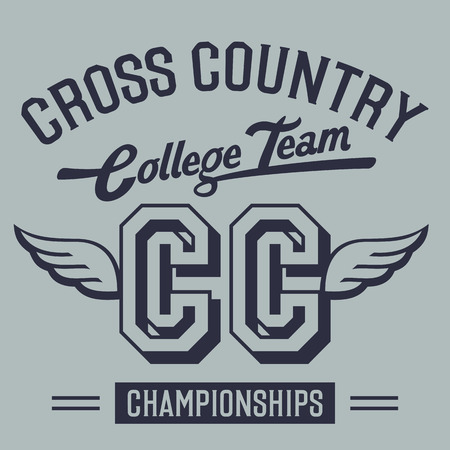 Cross country mistrovství vysoká škola tým, t-shirt typografický designu Ilustrace