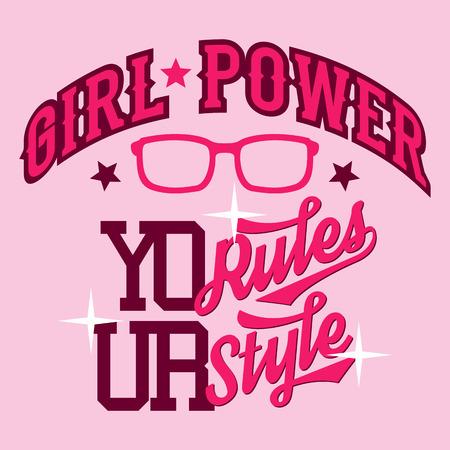 swag: Estilo bot�n Girl Power camiseta dise�o tipogr�fico