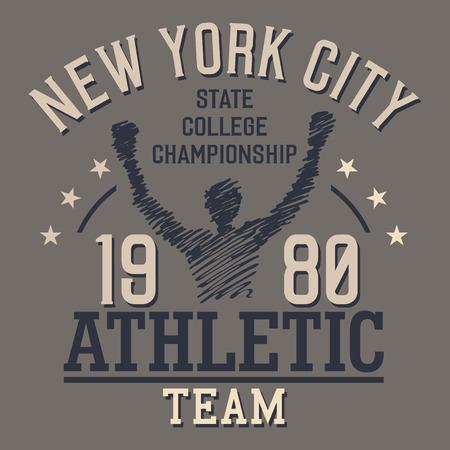 the varsity: New York City Athletic Team, t-shirt typographic design
