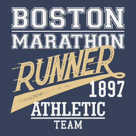 Boston Marathon runner athletic team, t-shirt typographic design