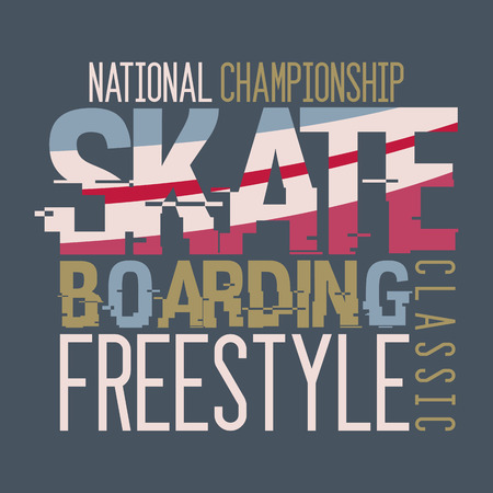 skateboarder: Skateboarding national championship, t-shirt typographic design Illustration
