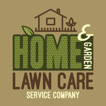 ikony: Dom i ogród usługi opieki trawnik firmy, marki i t-shirt projekt typograficzny