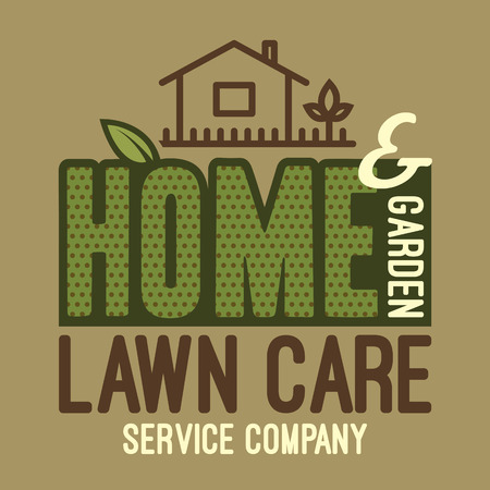 work home: Home and garden lawn care services company, label and t-shirt typographic design