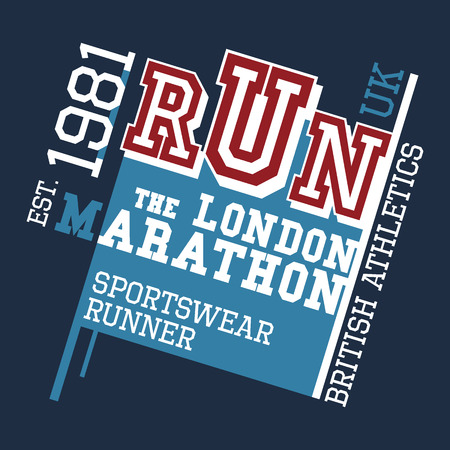 marathon: London Marathon british athletics, t-shirt typographic design