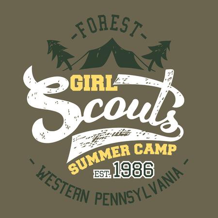 esploratori: Girl Scouts campo estivo, t-shirt e label design tipografico