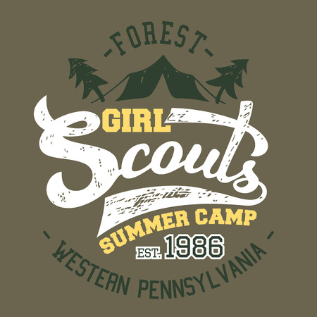 summer girl: Girl Scouts summer camp, t-shirt and label typographic design