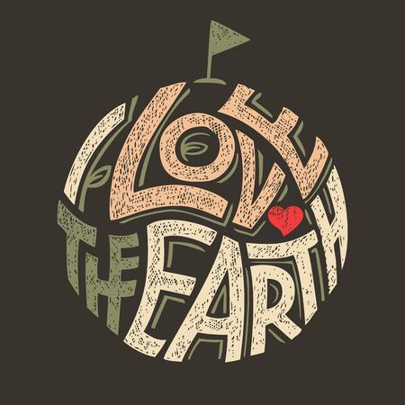 paz mundial: Amo la etiqueta-letras de la mano de la Tierra, el dise�o ecol�gico de la camiseta para el D�a de la Tierra
