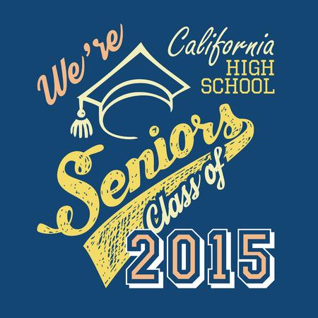 Escuela Secundaria de California Seniors, camiseta diseño tipográfico