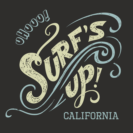 tee shirt: Surfs Up hand-lettering, t-shirt typographic design