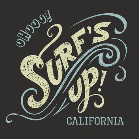Surfs Up Handbeschriftung, T-Shirt mit typografischen Gestaltung