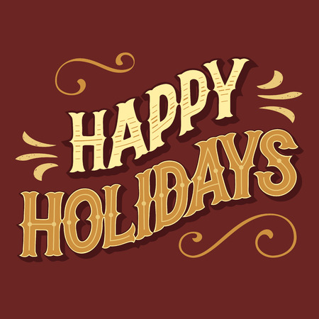 headline: Happy holidays hand-lettered headline for greeting card Illustration
