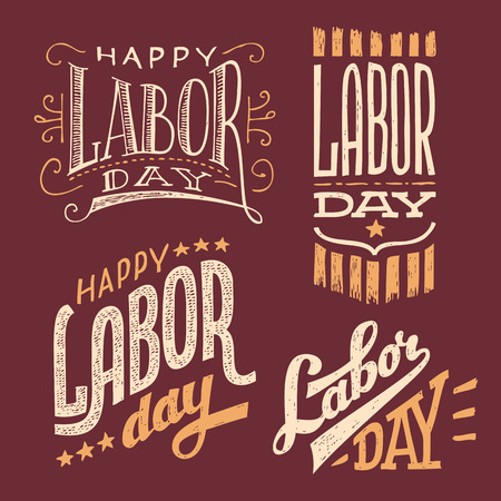 Happy Labor Day, vintage hand-lettering designs set 矢量图像