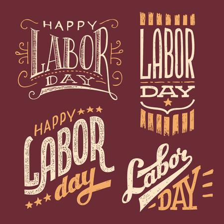 labour day: Happy Labor Day, vintage hand-lettering designs set Illustration