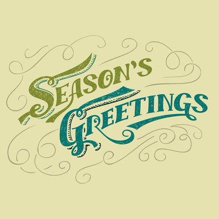 headline: Seasons greetings typographic design, hand-lettering headline