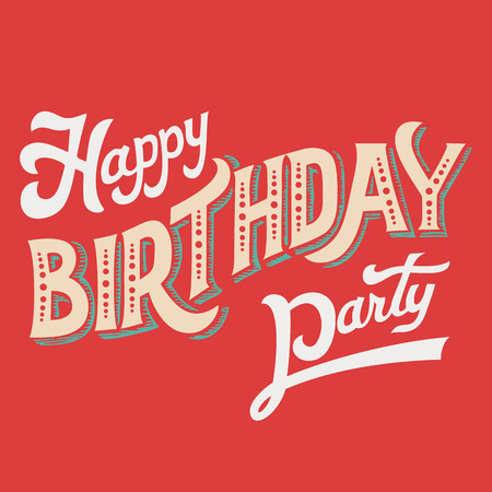 handlettering: Happy Birthday Party, hand-lettering headline for greeting card