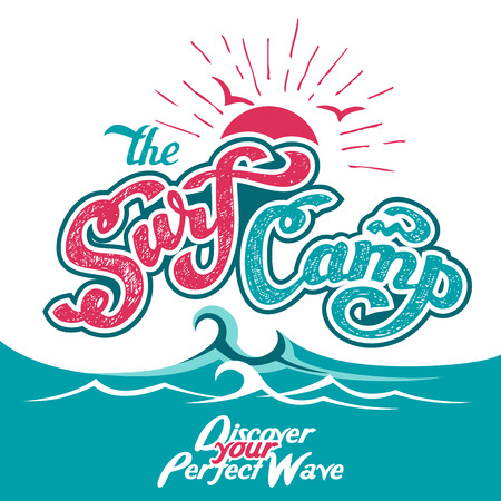 hand lettered: The Surf Camp hand lettered logo design with a waves