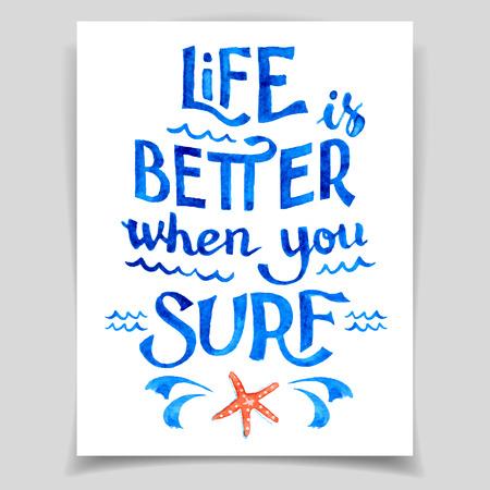 人生はサーフィンをするより良いです。青いベクトル水彩碑文、カード テンプレート  イラスト・ベクター素材