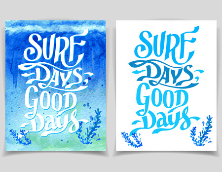 Surf days, good days. Set of vector watercolor surfing greeting cards Illustration