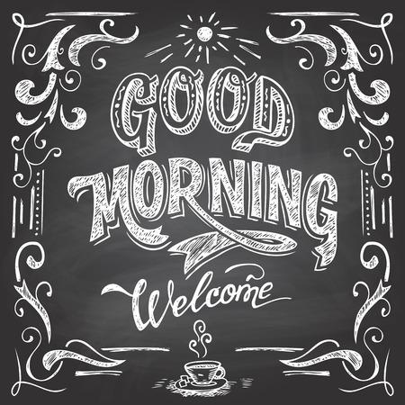 breakfast: Buenos días y bienvenidos. Estilo Pizarra Cafe cartel tipográfico con letras de la mano-