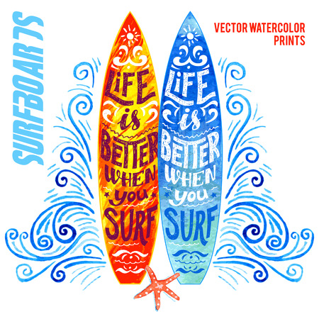 Set of vector watercolor surfboards with hand-lettering