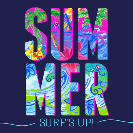 waves pattern: Summer letters with watercolor waves pattern tshirt typographic design