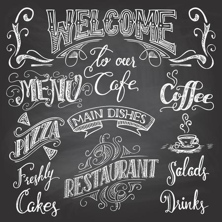 segno: Set di handdrawn scritte da caffetterie e ristoranti sullo sfondo lavagna